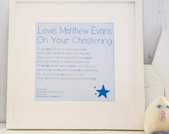 Personalised Boys Christening / Baptism Print with Frame