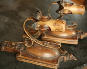 Set of Two Vintage Cast Iron Painted Wall Mounted Lighting, 1910s Art Deco, Farmhouse Lighting, Painted Light Fixtures