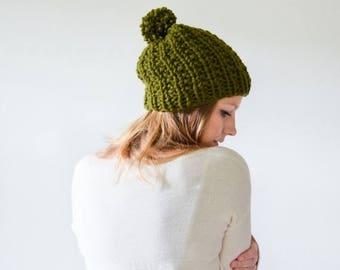 SPRING SALE chunky knit womens slouchy hat beanie pom hat - cilantro - the WINDSOR