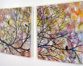 Custom order for Candice to paint a large tree painting on two 24 x 36 inch canvases. JMichael
