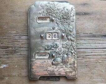 Vintage Perpetual Calendar - Metal with birds & flowers