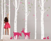 Birch Tree Wall Decals | Seven Birch Trees with Deer and Rabbits | Baby Nursery, Children's Room Interior Designs | Easy Application 011