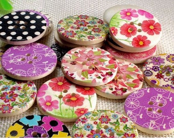 """30 PC Painted wood buttons 30mm - Wooden Buttons ,buttons, natural wood buttons """"flower"""" A113"""