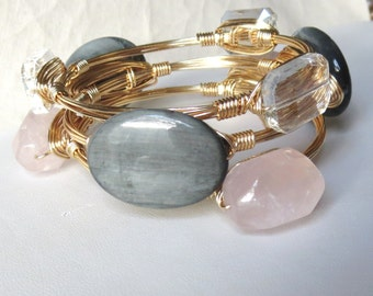 "Set of 3 Pink, Gray and Clear Stone Bangle Bracelets ""Bourbon and Bowties"" Inspired"