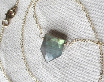Labradorite Pentagon Pendant Necklace in 14k Gold Filled