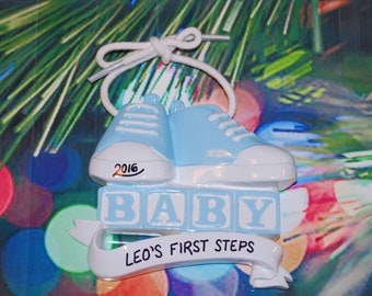 Boy's First Steps Baby Shoes Personalized Christmas Ornament