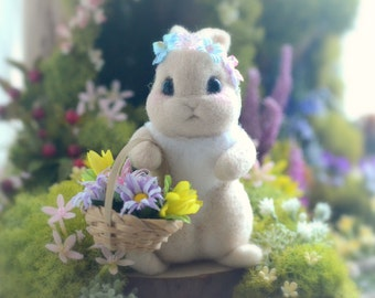 Needle felt Easter rabbit doll, handmade Easter bunny figurine, mini bunny with flower basket pocket doll, needle felt animal, gift under 35