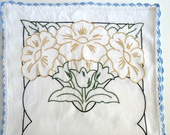 Vintage Table Runner or Dresser Scarf, Beautifully Hand Embroidered w Green Tulips and Yellow Flowers, Vintage Linens by TheSweetBasilShoppe