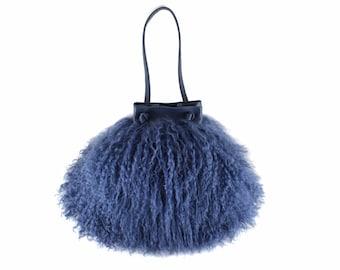 NEW! Cotton Candy Mongolian Fur & Leather Drawstring Mini | Fuchsia Pink Bag | Fur Bag | Tibetan | Handbag | Fur Purse | Handmade