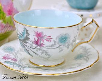 ON SALE Aynsley Embossed White Teacup And Saucer Set Wayside Crocus, English Tea Cup, Regd No 765788, Wedding Gift, ca. 1931
