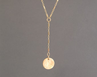 Gold Fill Hammered Coin Lariat Necklace also in Sterling Silver