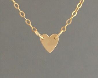 Gold TINY Heart Necklace