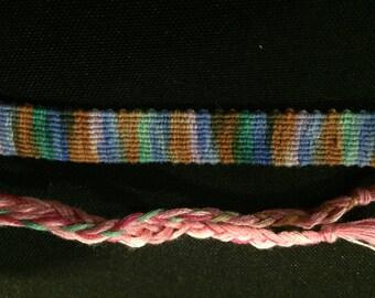 Purple, Blue, Brown, and Green Tie-Dye Bracelet