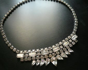 Vintage Art Deco Rhinestone Necklace - 1930s Choker - Vintage Wedding - Bridal Necklace - Cocktail Party - Art Deco Jewelry