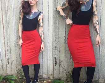 Vintage Red Hot express pencil skirt size 0 xs bandage