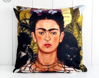 From our Frida Kahlo Collection. The iconic painting Thorn Necklace and Hummingbird Reproduced on made to order cushions.