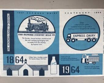 Vintage Tea Towel - Express Dairy Centenary Commemorative Tea Towel - Pure Irish Linen - Mid Century Modern