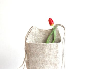 Hanging basket, toys organizer, felted wool bag, natural eco-friendly hanging bag - Weddings gift