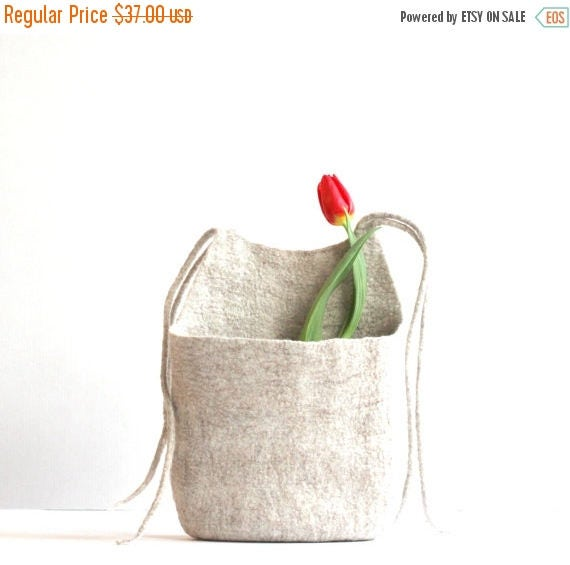 Hanging basket, toys organizer, felted wool bag, natural eco-friendly hanging bag - Weddings gift