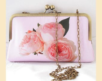 Clutch bag, purse with chain, shoulder strap, pink roses, bridesmaids clutch, wedding purse, personalised purse