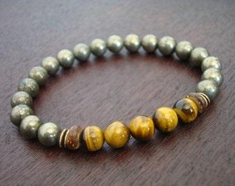 Men's Protection, Luck, & Mental Balance Mala Bracelet // Tigers Eye and Pyrite Mala Bracelet // Yoga, Buddhist, Meditation, Prayer Beads