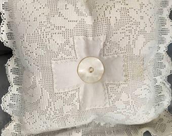 Vintage mini doily pillow