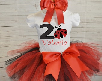 Ladybug birthday outfit, FREE SHIPPING, second birthday, girl outfit, red tutu set, red, black, birthday outfit, ladybug, birthday set,