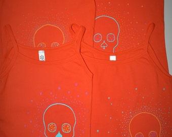 Eye dazzling skull on orange women's XL, M, S, American apparel tank, camisole/ Skull, orange, aqua,