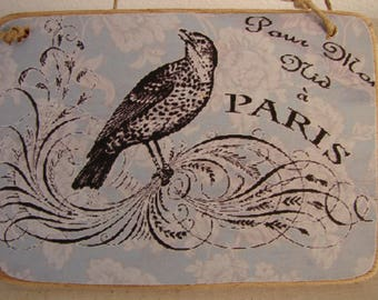 French shabby chic,ornate bird on vintage wallpaper,vintage style image sealed onto wooden hanger