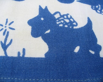 Scottie Dogs Child's Hankie is Vintage Blue and White Cotton in Nice Condition Mid Century US Free Ship Read Full Details