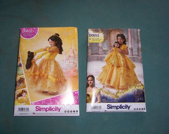 Simplicity 8405 or 8407...Beauty and the Beast Girl's Dress Patterns..Belle..American Girl & Child's Matching Dress Patterns..Disney