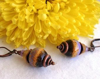 Field of Flowers--Lavender and Yellow Enamel Bead Earrings  36
