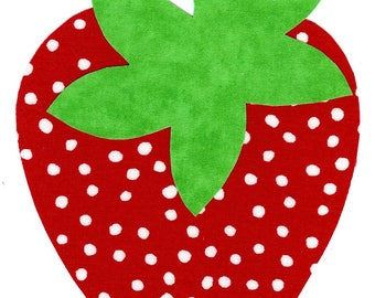 Iron on fabric strawberry applique DIY