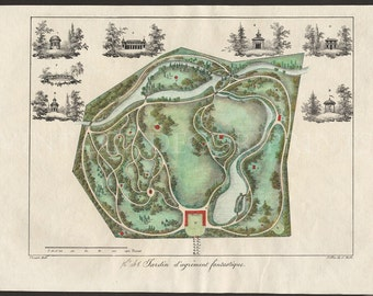 French Garden Design 1828 Garden Plan by Gabriel Thouin