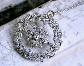 Gorgeous Antique Diamond Platinum Brooch/ Necklace.
