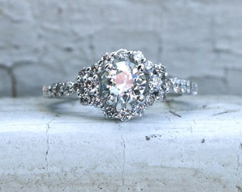 Stunning Sparkly Vintage 18K White Gold Halo Diamond Engagement Ring - 1.59ct.