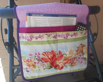 Walker Tote, Walker Caddy, Walker Bag, Pink and Orange Floral, Gift for Grandma or Mother