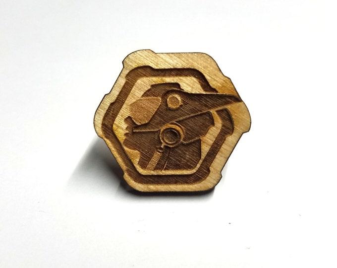 Overwatch Genji Pin   Laser Cut Jewelry   Wood Accessories