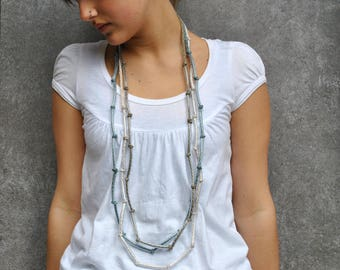 Knit modern necklace, textile necklace, modern chic jewelry, cotton necklace and plastic, fashion, stacking necklace, modern knit jewelry