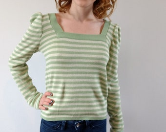 Vintage 1970s striped sweater, 70s sweater, skinny sweater, small