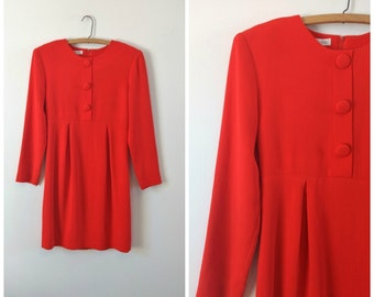 Vintage Anne Taylor 1960s style red dress, vintage red dress, small