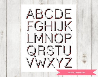 Alphabet Nursery Print | Buffalo Print ABC Wall Art | Woodlands Themed Decor Instant Download