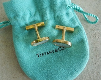 18K Gold Tiffany Cufflinks - Genuine Tiffany & Co - 18K Oval Gold and Mother of Pearl Cuff Links - Gift for Him - Mens Jewelry