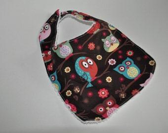 Owl Baby bib,  Owl Bib, Brown Owl baby bib, Brown owl bib, Pink Owl bib, Pink owl baby bib, Owl bib for girls, Terry cloth backed baby bib