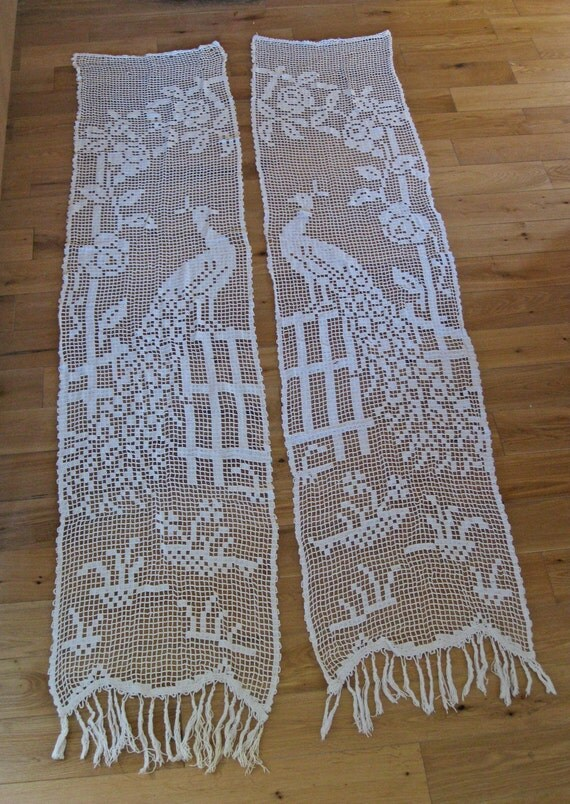Pair Of Long Lace French Door Curtains With Peacock Pattern