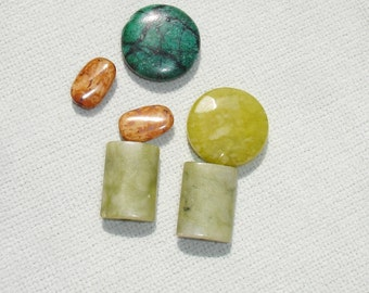 Green and Brown Gemstone Beads - 6 pcs - Jewelry Making Supplies