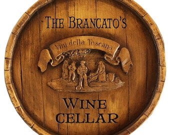 Tuscan Wine Barrel Personalized Sign