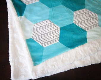 SALE - Teal Hexagons Baby Blanket, Boy Baby Blanket, Baby Boy MINKY Blanket, Minky Baby Blanket, Baby First Christmas, Ready to Ship Blanket