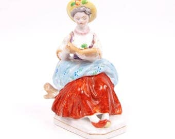 Vintage Colonial Lady Figurine Occupied Japan Lady Singing Holding Music Book Hand Painted Porcelain