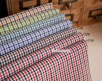 Small Gingham Cotton Fabric, Yarn-dyed Cotton Fabric, 7 Color for Choice Cotton Fabric - 1/2 yard (QT1103)